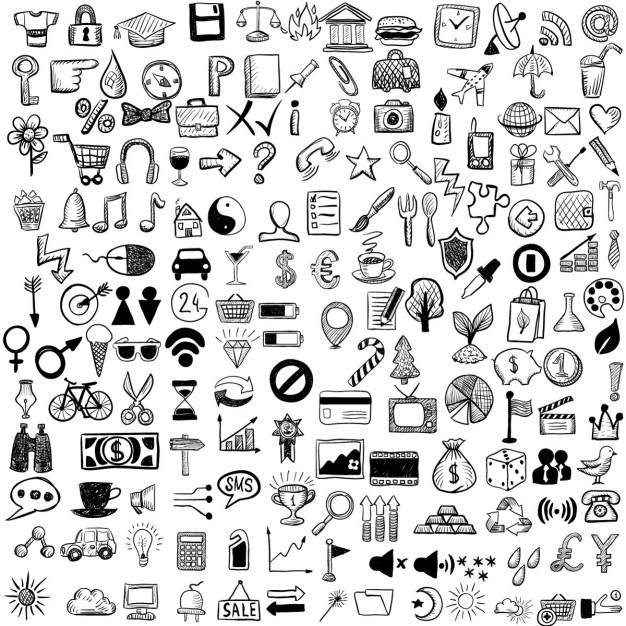 626x626 Set Of Hand Drawn Icons Vector Free Download