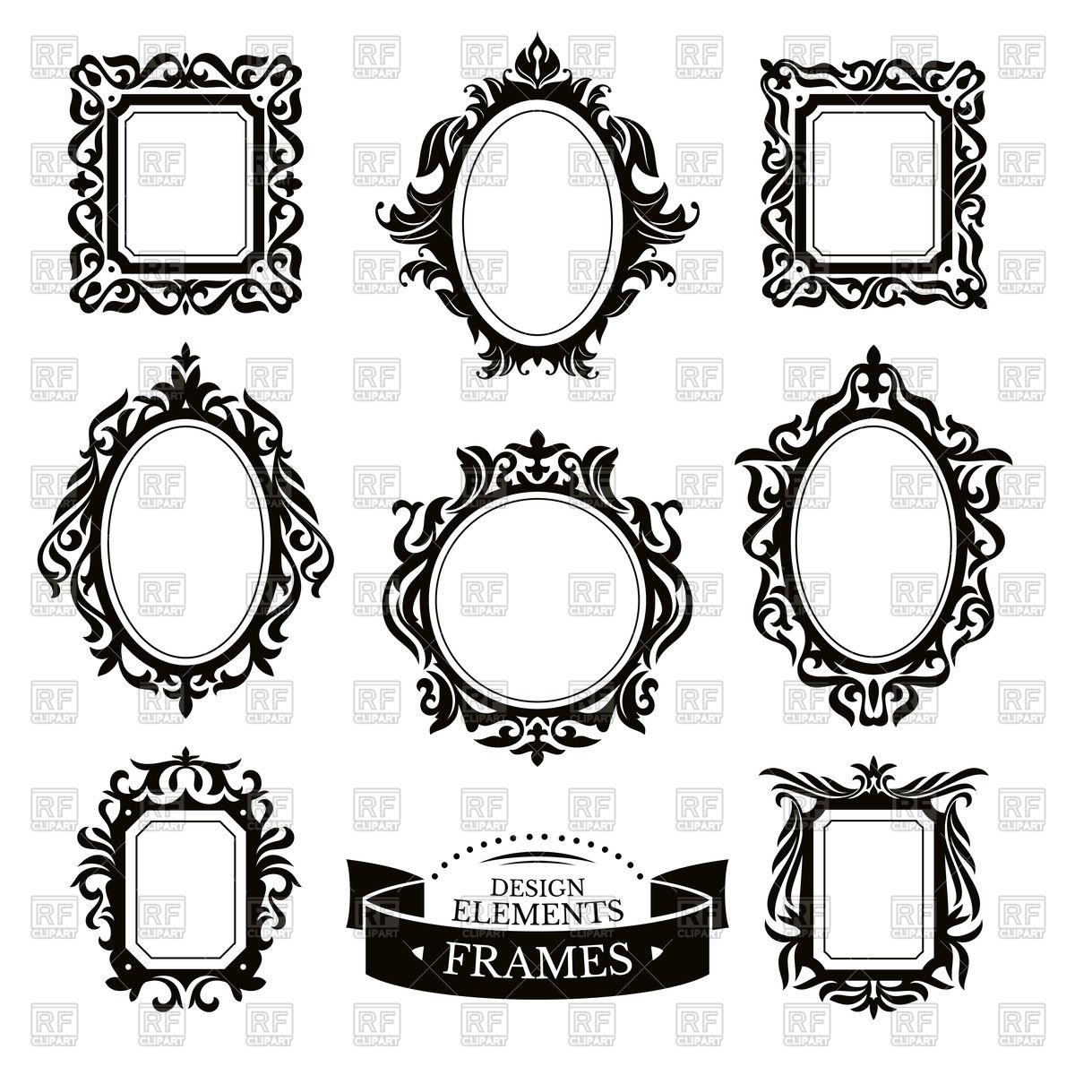 1200x1200 Set Of Vintage (Baroque) Frames Vector Image Vector Artwork Of
