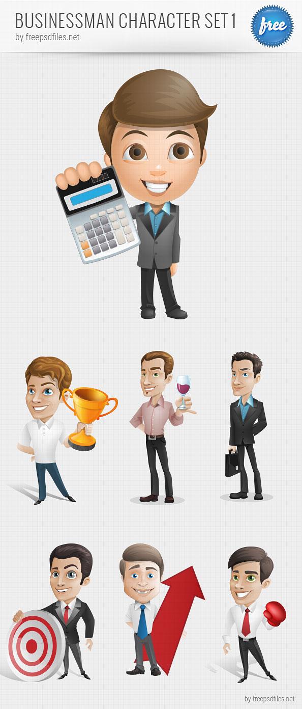 594x1392 Businessman Vector Character Set 1