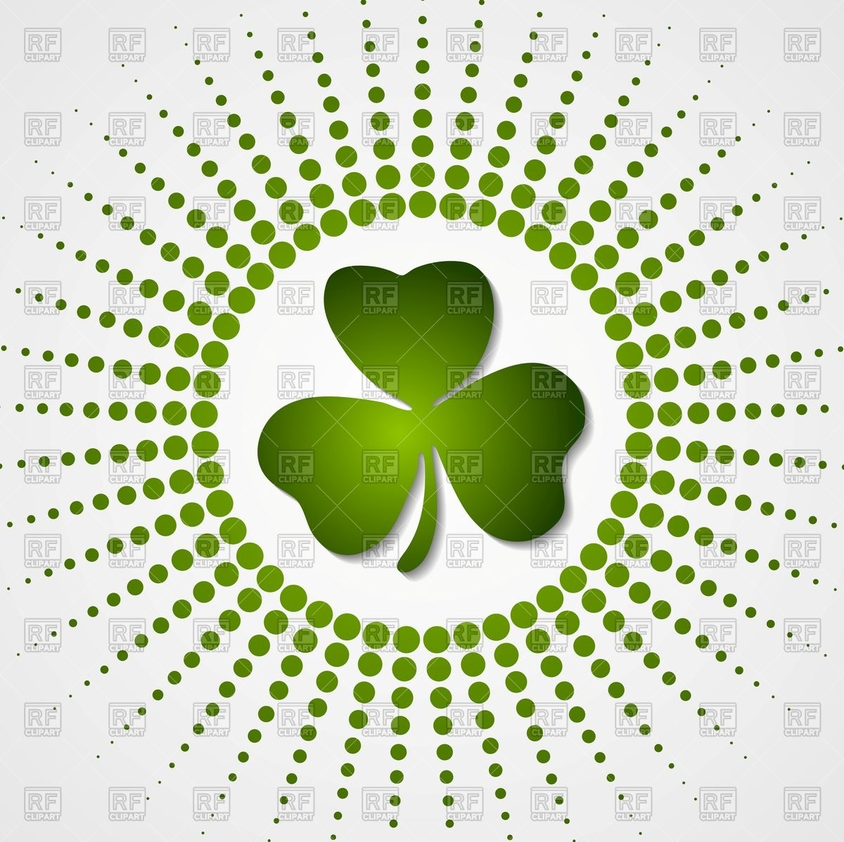1200x1198 Green Shamrock Clover And Halftone Beams Background Vector Image
