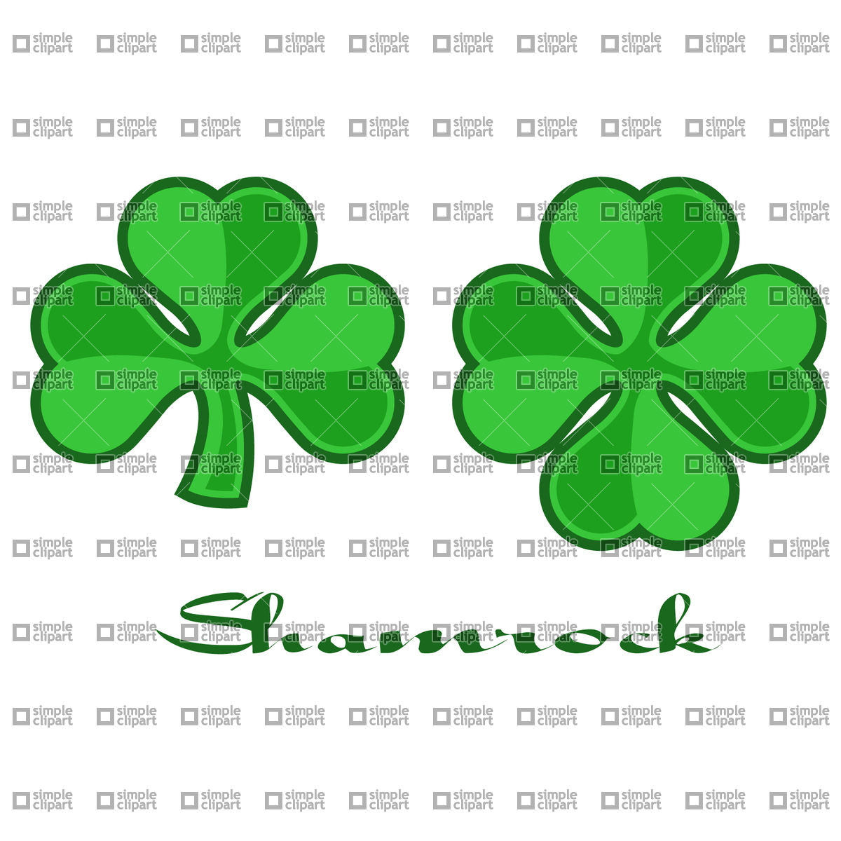 1200x1200 Quarterfoil And Trefoil Shamrock (Clover) Leaf Vector Image