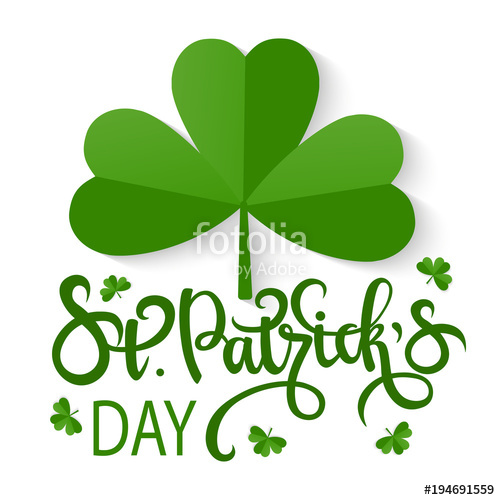 500x500 Vector Shamrock With Lettering. Happy St. Patrick Day Stock Image
