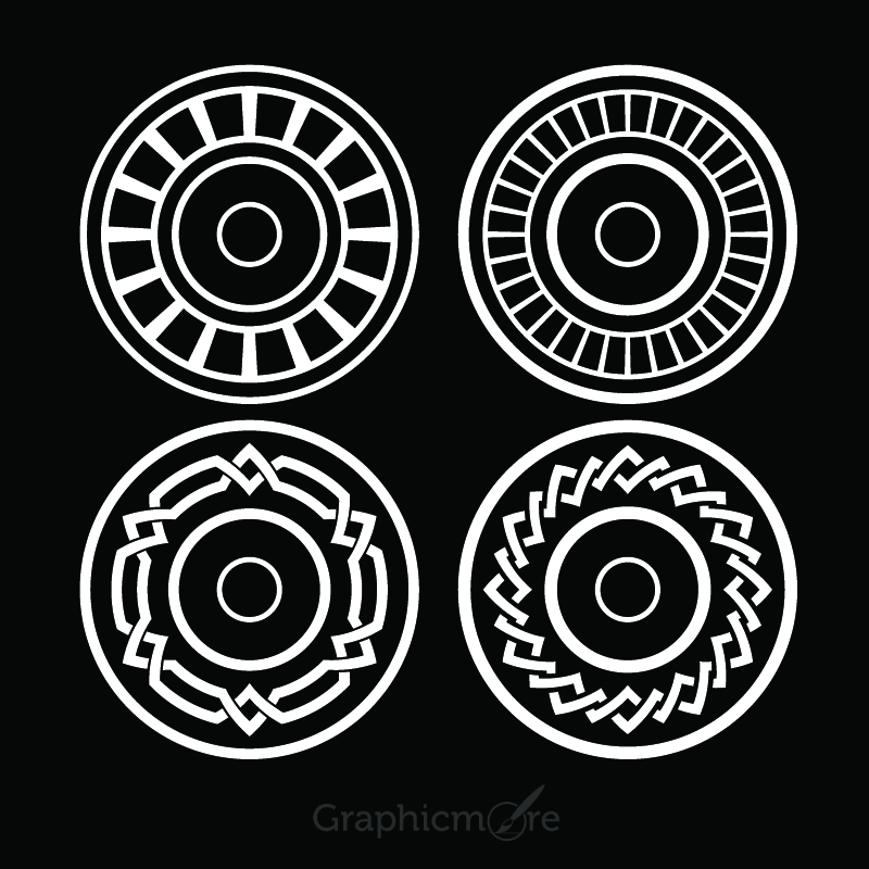800x800 Decorative Circle Shapes Set Design Free Vector File Download