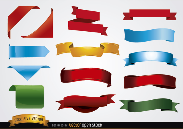 640x453 Free Vectors Colored Banner Shapes Vector Open Stock