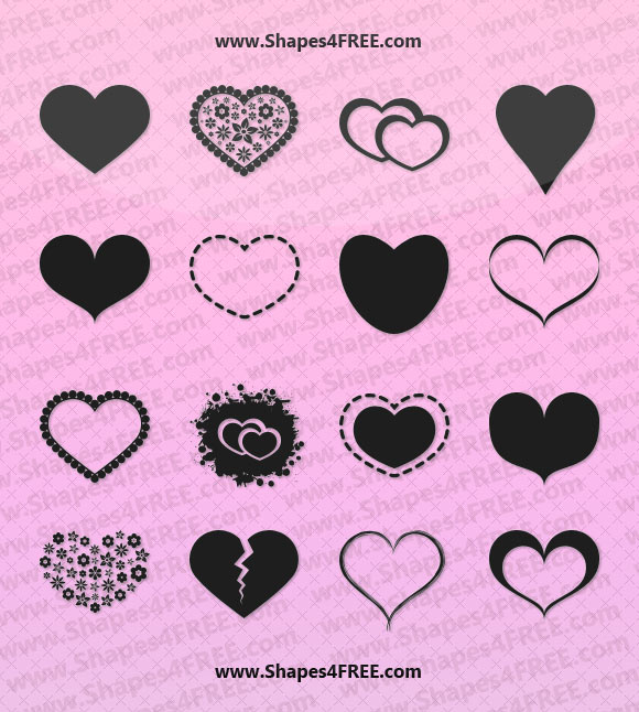580x646 55 Hearts Photoshop Amp Vector Shapes (Csh) Photoshop Custom Shapes