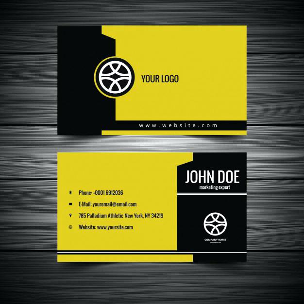 626x626 Businesscards Mx Free Yellow And Black Business Card Free Vector