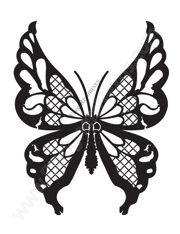 612x792 V13 Free Butterfly Vector Clip Art Stencil