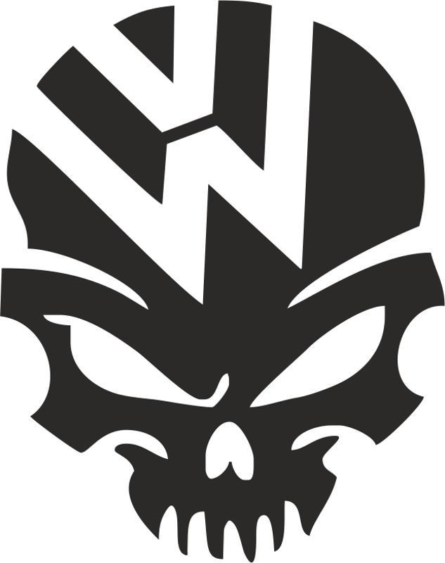 633x800 Vw Volkswagen Logo Skull Vector Free Vector Download