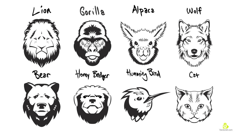 1500x850 Animals Portrait Stencils Free Vector Amp Clipart Design