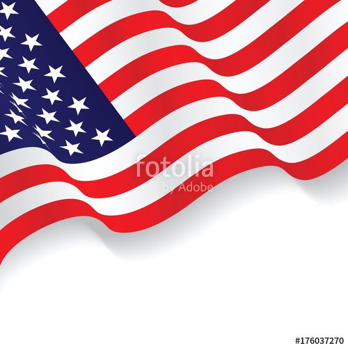 500x500 Us Flag Isolated On White Background. Stock Image And Royalty