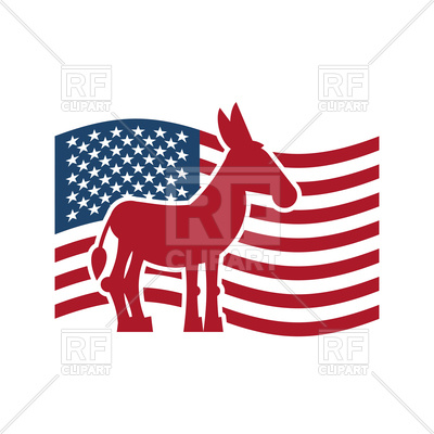 400x400 Democrat Donkey And Us Flag. Political Party America Vector Image