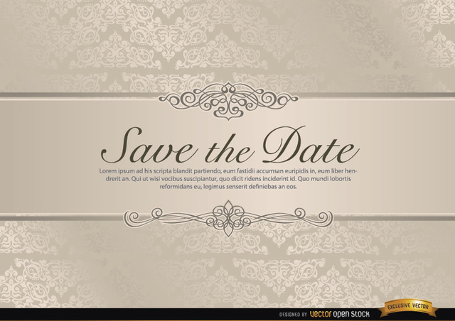 640x452 Free Vectors Wedding Invitation With Floral Riband Vector Open
