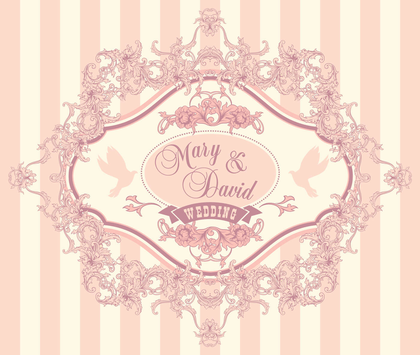 1400x1184 Free Vector Wedding Invitation Cards With Floral Elements. Vector