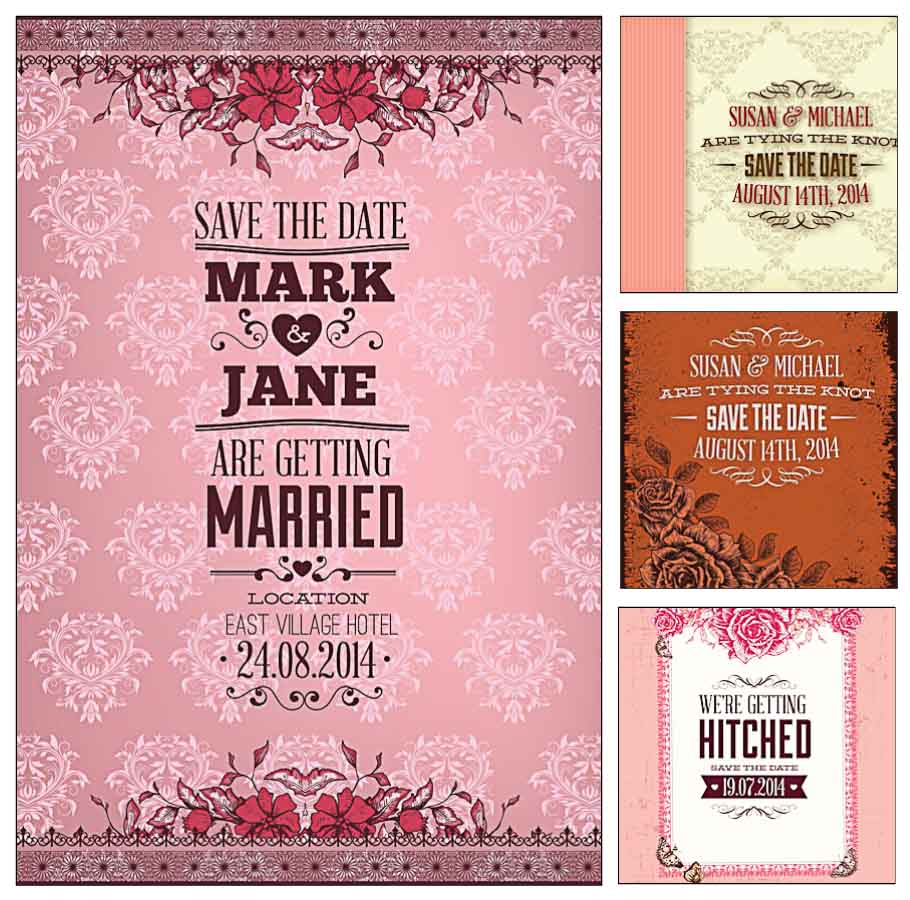 910x900 Pink Wedding Invitation Cards Vector Free Download