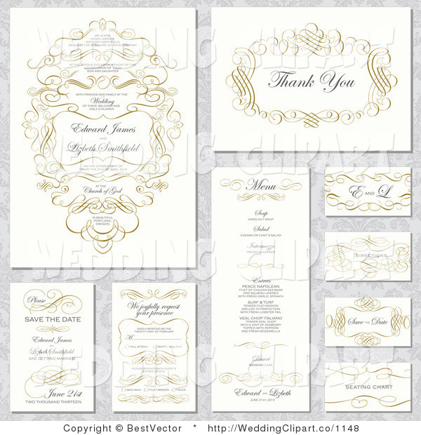 600x620 Vector Marriage Clipart Of Wedding Invitation Designs With Text
