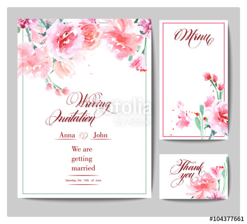 500x452 Wedding Invitation Cards With Watercolor Blooming Rose. (Use For