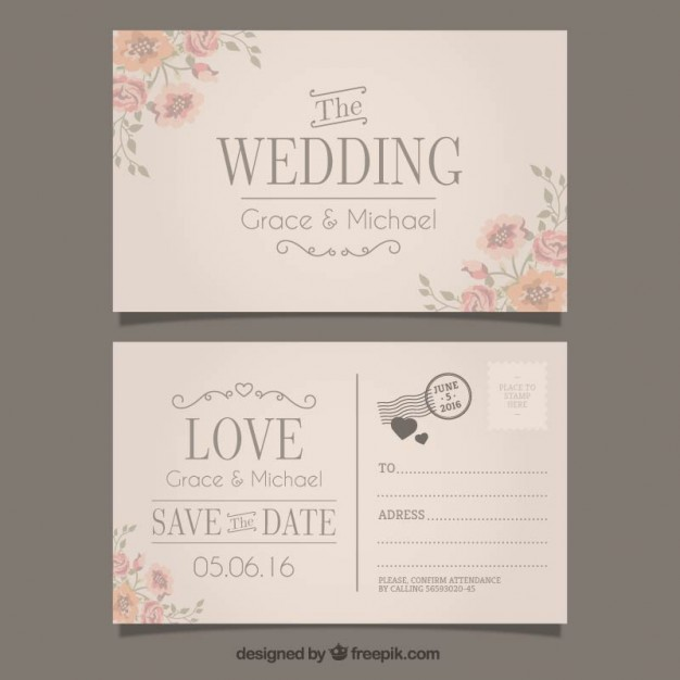 626x626 Wedding Invitation In Postcard Style Vector Free Download
