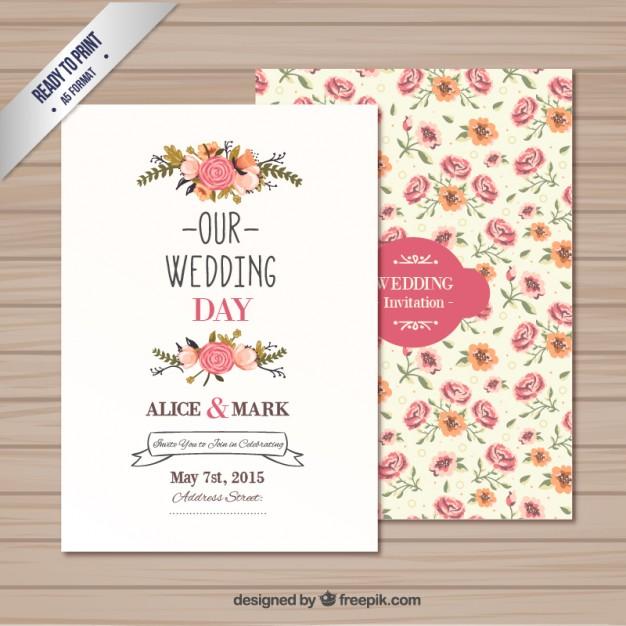 626x626 Wedding Invitation Template Vector Free Download