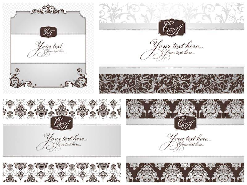 800x600 Classic Decorative Wedding Invitations Vector Invitations