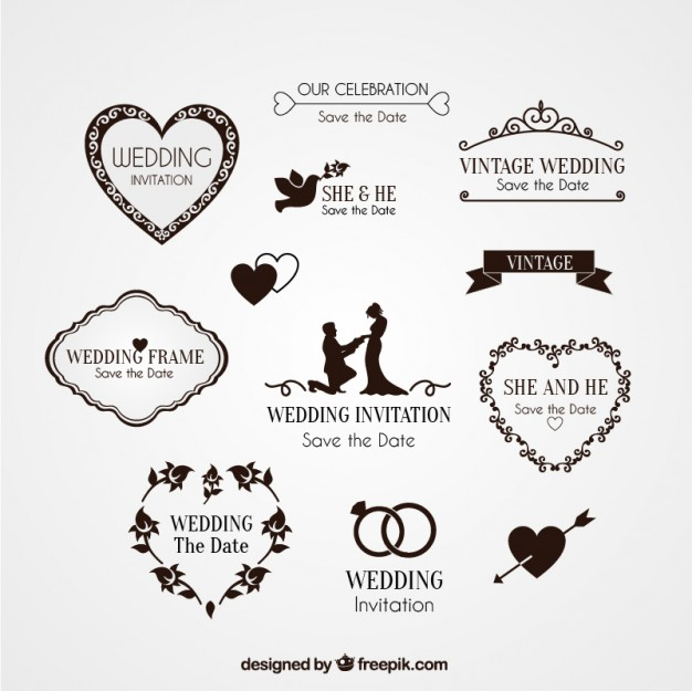 626x625 Elements For Wedding Invitation Vector Free Download