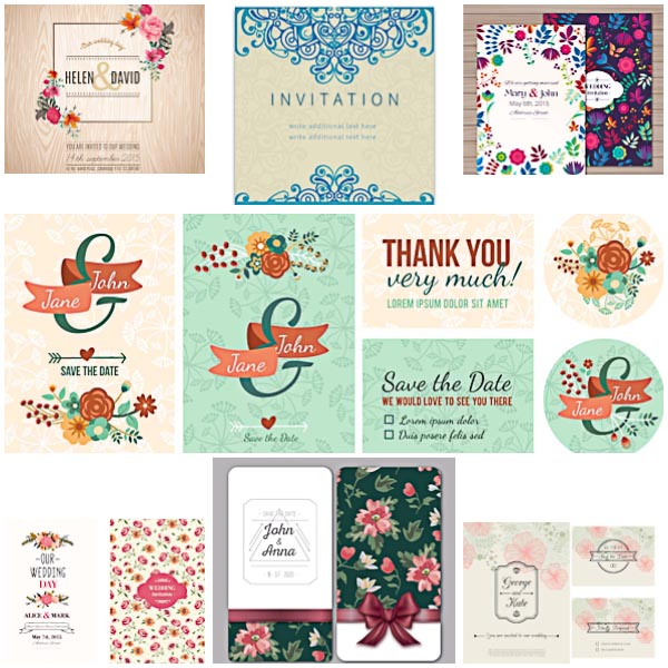 600x600 Floral Modern Wedding Invitations Vector Free Download