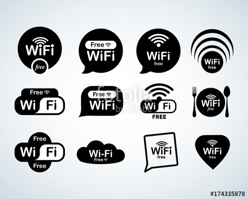 500x400 Free Wifi Logo Set. Free Wifi Signs Set. Wifi Symbols. Wireless