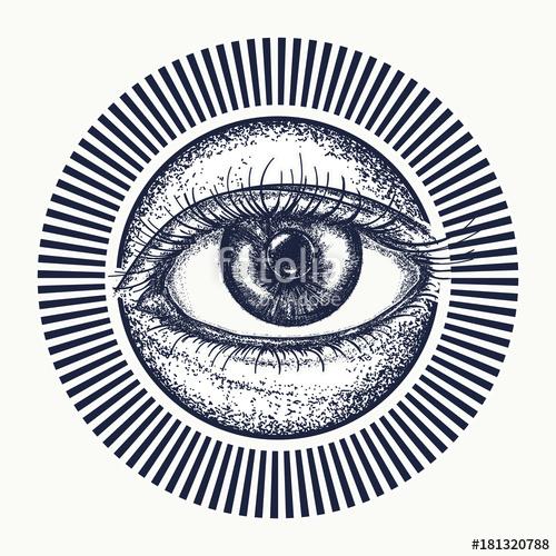 500x500 All Seeing Eye Tattoo Art Vector. Magic Eye T Shirt Design