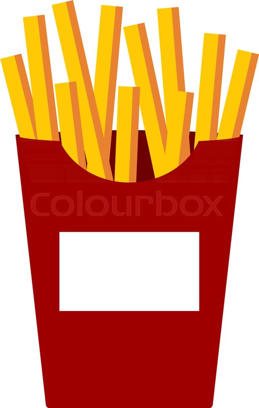 509x800 French Fries Vector Illustration, Flat Cartoon Style French Fried