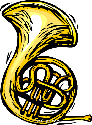 351x480 French Horn Royalty Free Vector Clip Art Illustration Vc064414