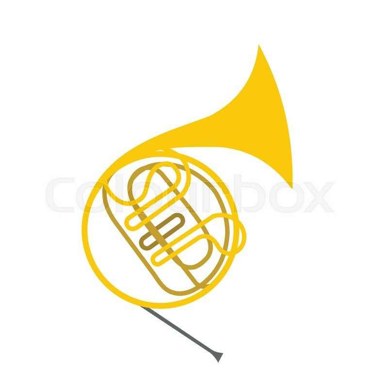 800x800 French Horn Flat Icon Isolated On White Background Stock Vector