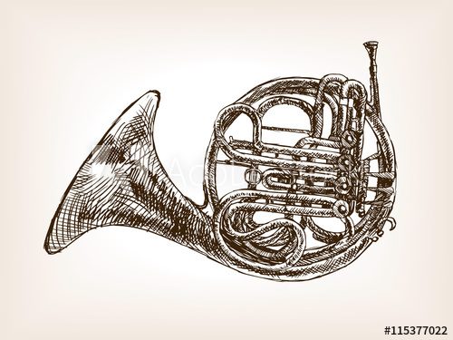 500x375 French Horn Hand Drawn Sketch Style Vector