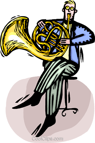 320x480 French Horn Player Royalty Free Vector Clip Art Illustration