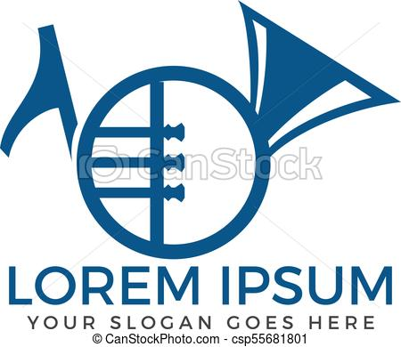 450x390 French Horn Vector Logo. Musical Instrument Sign And Symbol.