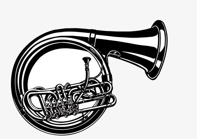 650x461 Horn Vector, Hand Painted French Horn, Brass Horn, Brass Horn