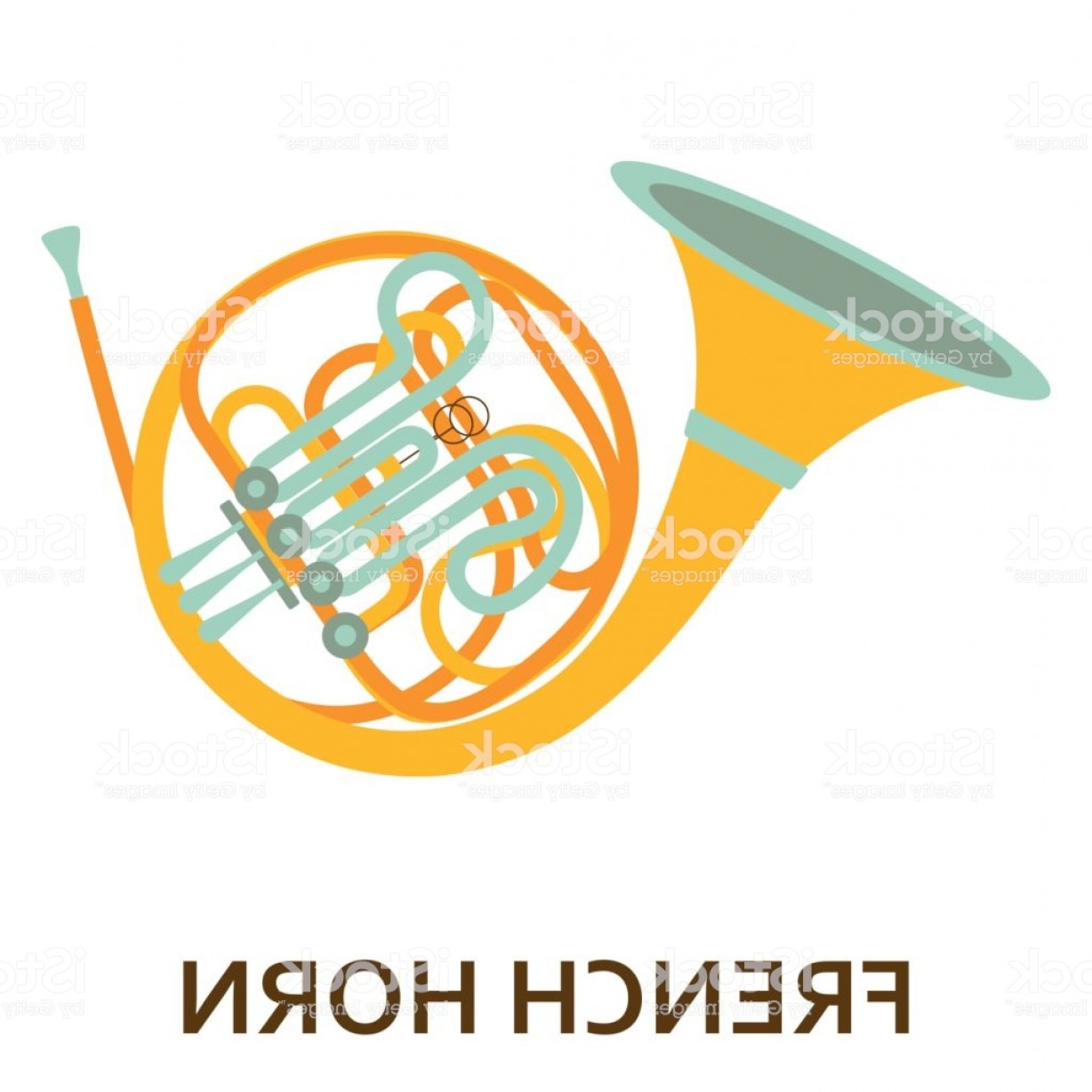 1228x1228 Music Instrument Icon French Horn Vector Flat Illustration Gm