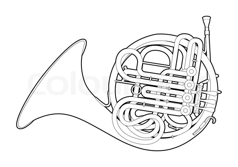 800x560 Outline French Horn Stock Vector Colourbox