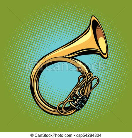 450x470 Tuba French Horn Helicon Musical Instrument. Pop Art Retro Vector