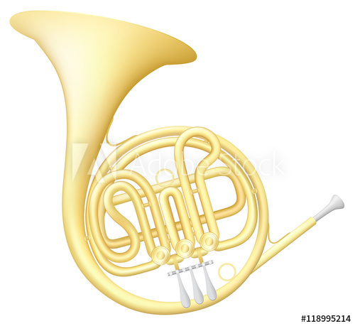 500x459 Vector Illustration Of A French Horn Musical Instrument.
