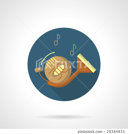 450x468 Wind Instruments. French Horn Round Vector Icon