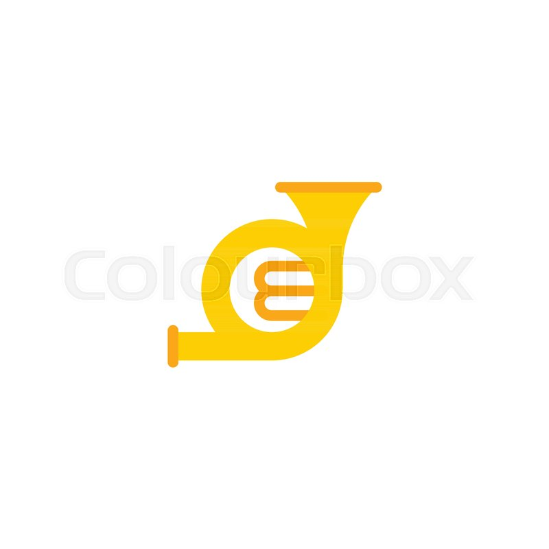 800x800 Flat Icon French Horn Element. Vector Illustration Of Flat Icon