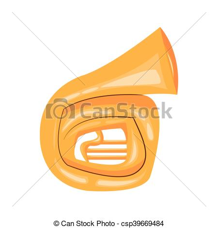 450x470 Flat Design French Horn Cartoon Icon Vector Illustration.
