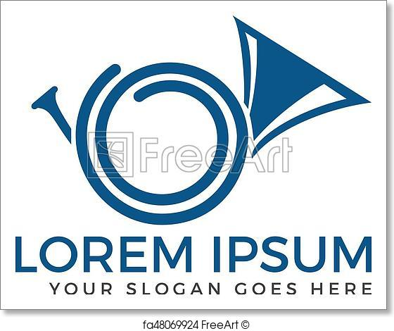 560x470 Free Art Print Of French Horn Silhouette Vector Logo. Musical