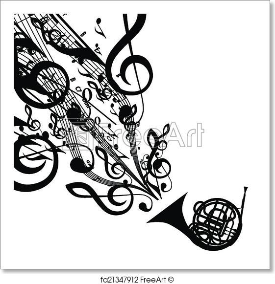 561x581 Free Art Print Of Vector Silhouette Of French Horn With Musical