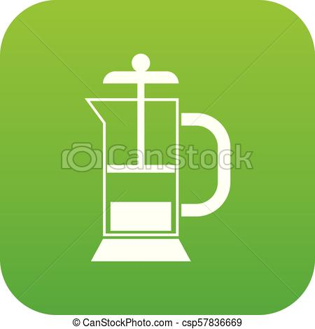 450x470 French Press Coffee Maker Icon Digital Green For Any Design