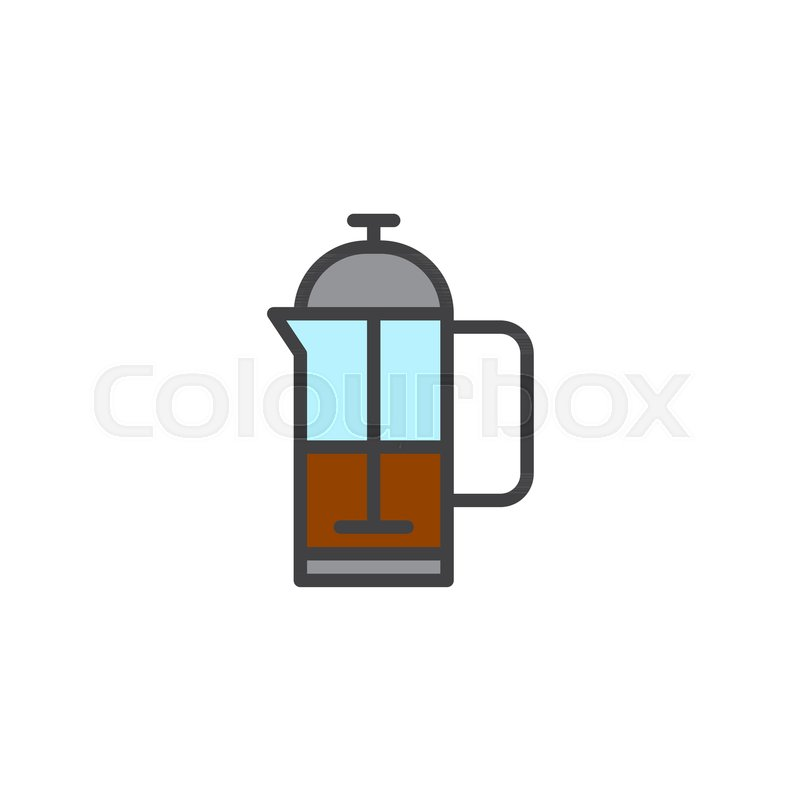 800x800 French Press Kettle Filled Outline Icon, Line Vector Sign, Linear