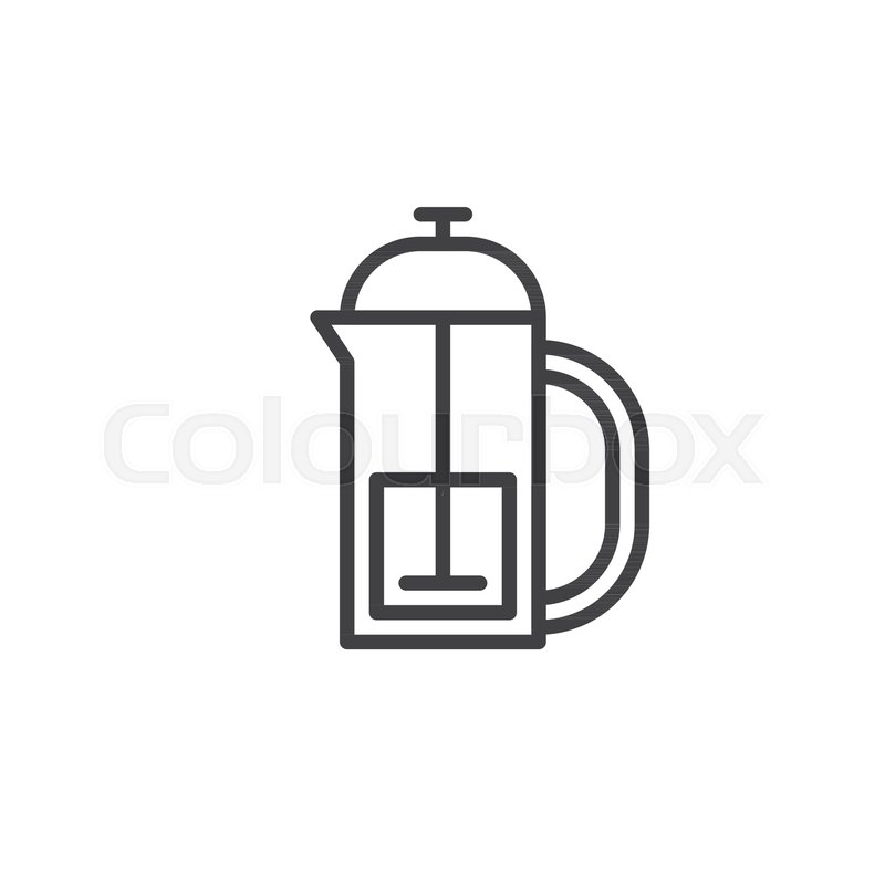 800x800 French Press Kettle Line Icon, Outline Vector Sign, Linear Style