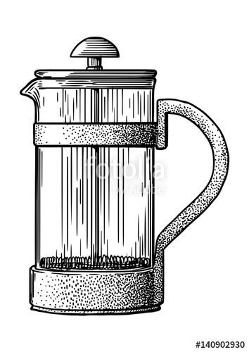 354x500 French Press Pot Coffee Maker Illustration, Drawing, Engraving