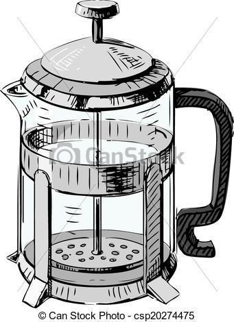 341x470 French Press Tea Pot. Hand Drawing Sketch Vector Illustration.