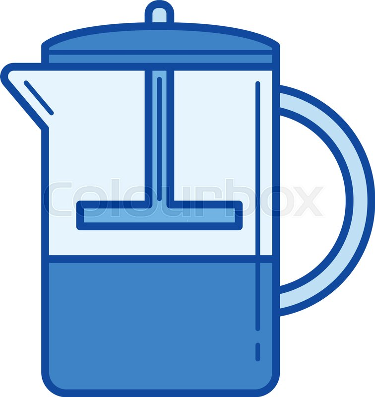 756x800 French Press Vector Line Icon Isolated On White Background. French