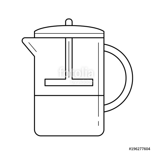 500x500 French Press Vector Line Icon Isolated On White Background. Making